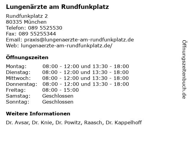 Pneumologie Elisenhof in München: Adresse und Öffnungszeiten