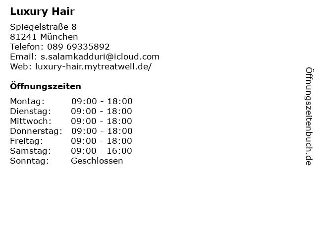 Luxury Hair in München: Adresse und Öffnungszeiten