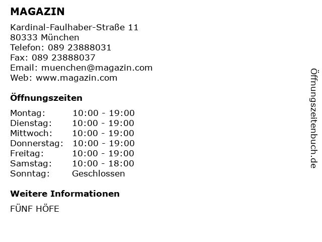MAGAZIN in München: Adresse und Öffnungszeiten