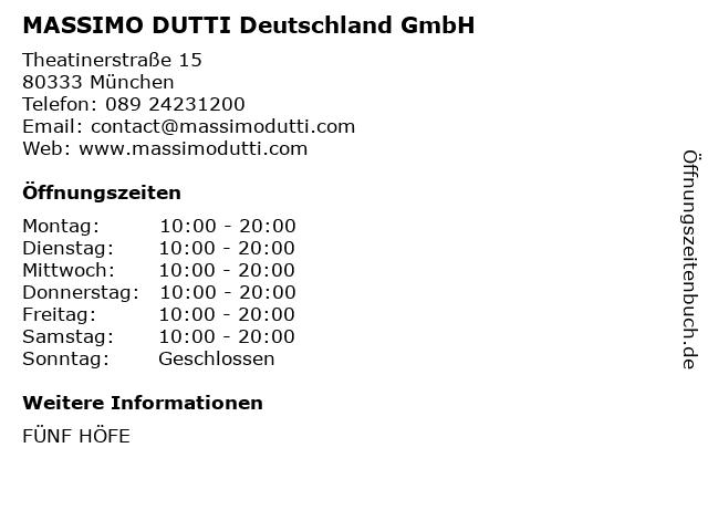 MASSIMO DUTTI Deutschland GmbH in München: Adresse und Öffnungszeiten