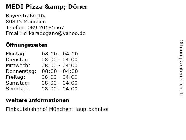 MEDI Pizza & Döner in München: Adresse und Öffnungszeiten