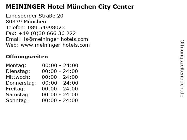 MEININGER Hotel München City Center in München: Adresse und Öffnungszeiten