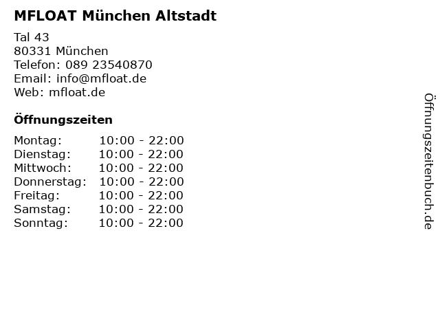 MFLOAT München Altstadt in München: Adresse und Öffnungszeiten