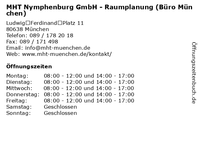 MHT Nymphenburg GmbH - Raumplanung (Büro München) in München: Adresse und Öffnungszeiten