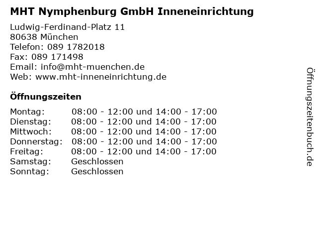 MHT Nymphenburg GmbH Inneneinrichtung in München: Adresse und Öffnungszeiten