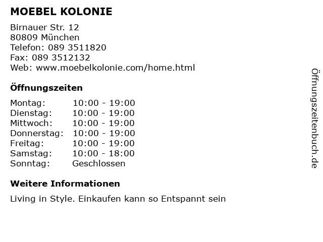 ᐅ öffnungszeiten Moebel Kolonie Birnauer Str 12 In München