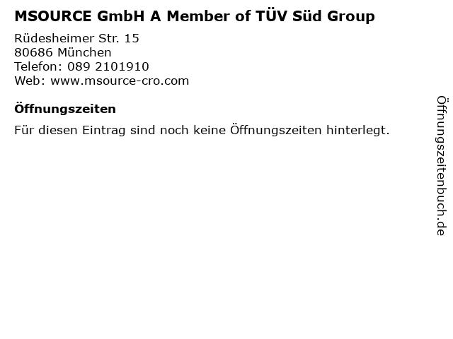 MSOURCE GmbH A Member of TÜV Süd Group in München: Adresse und Öffnungszeiten