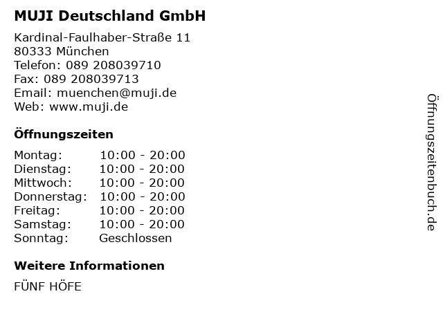MUJI Deutschland GmbH in München: Adresse und Öffnungszeiten