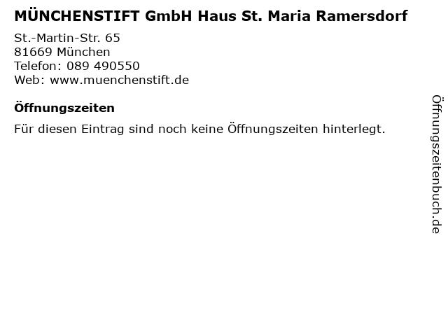 MÜNCHENSTIFT GmbH Haus St. Maria Ramersdorf in München: Adresse und Öffnungszeiten