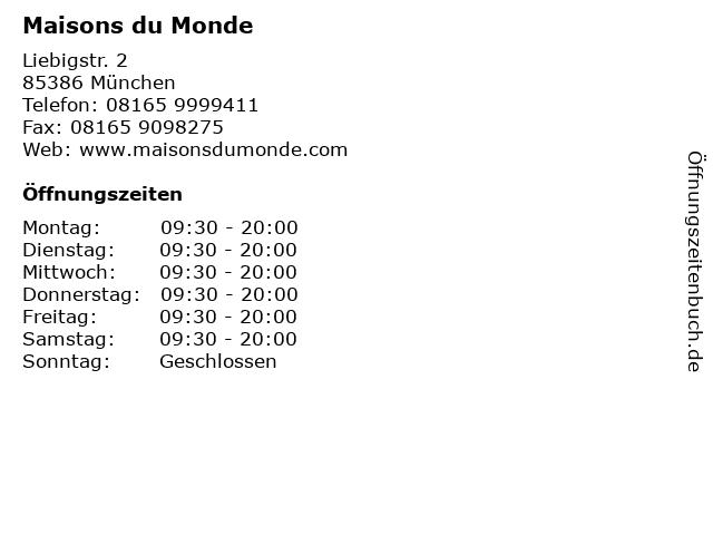 ᐅ öffnungszeiten Maisons Du Monde Liebigstr 2 In München