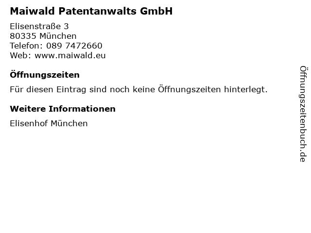 Maiwald Patentanwalts GmbH in München: Adresse und Öffnungszeiten