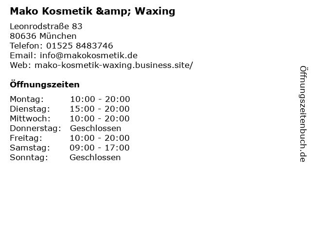 Mako Kosmetik & Waxing in München: Adresse und Öffnungszeiten