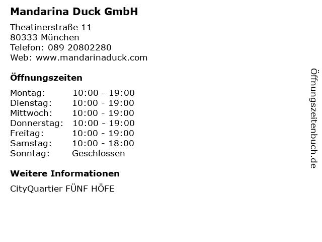 Mandarina Duck GmbH in München: Adresse und Öffnungszeiten