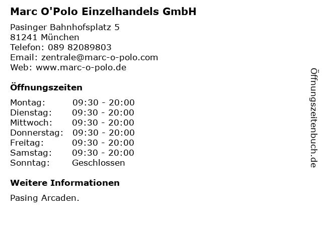 Marc O'Polo Einzelhandels GmbH in München: Adresse und Öffnungszeiten
