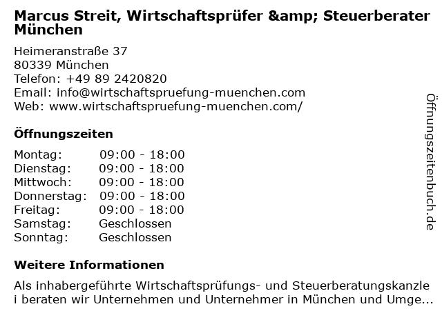 Marcus Streit, Wirtschaftsprüfer & Steuerberater in München: Adresse und Öffnungszeiten