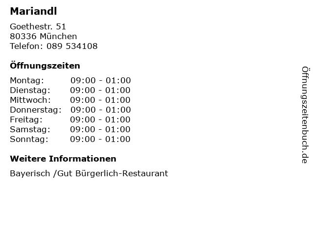 Mariandl in München: Adresse und Öffnungszeiten