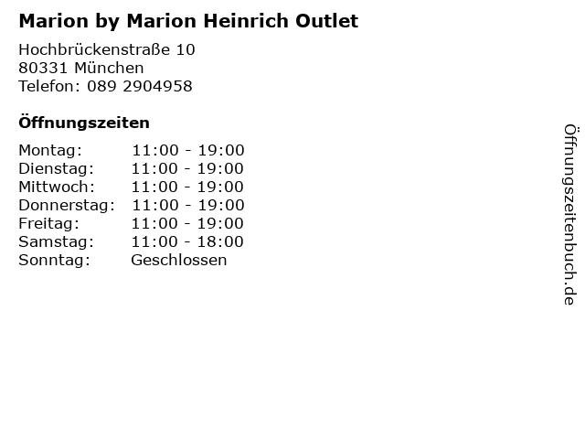 Marion by Marion Heinrich Outlet in München: Adresse und Öffnungszeiten