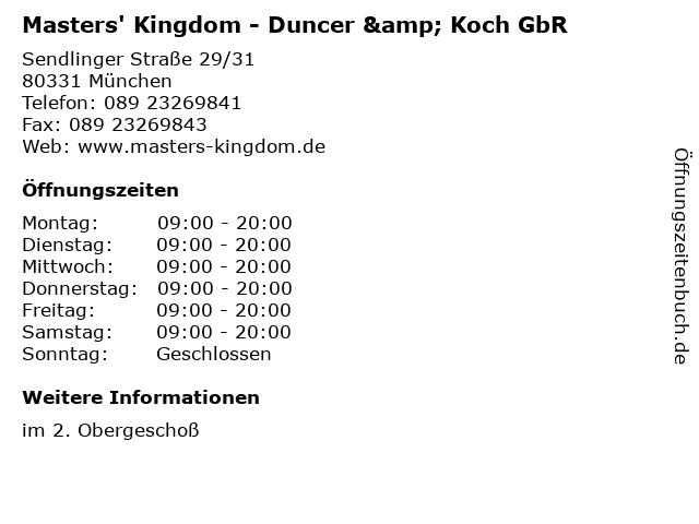 Masters' Kingdom - Duncer & Koch GbR in München: Adresse und Öffnungszeiten