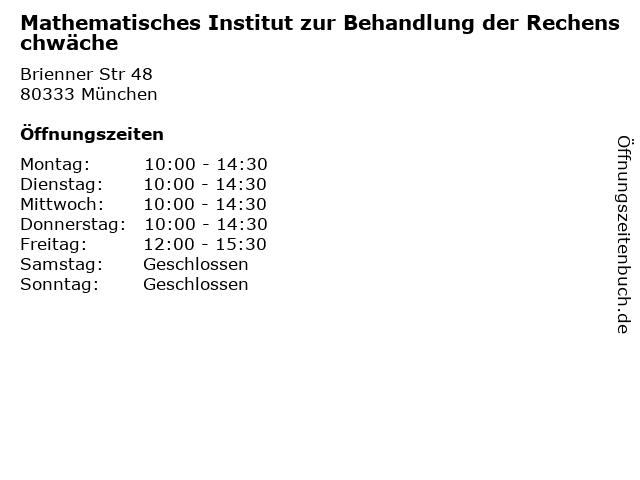 Mathematisches Institut zur Behandlung der Rechenschwäche in München: Adresse und Öffnungszeiten