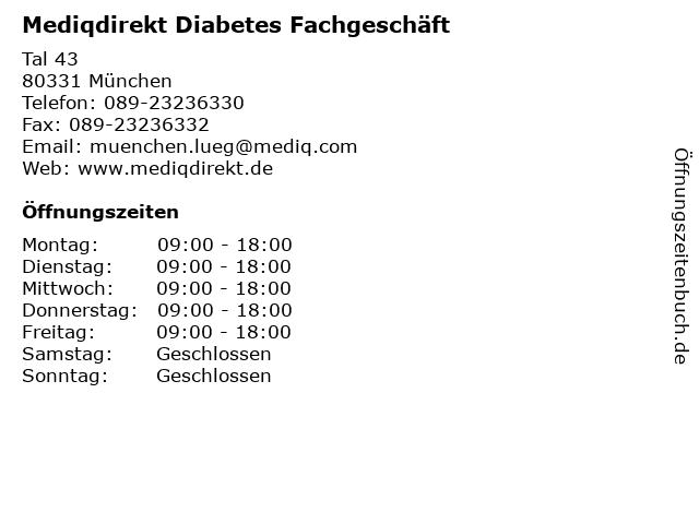 Mediqdirekt Diabetes Fachgeschäft in München: Adresse und Öffnungszeiten