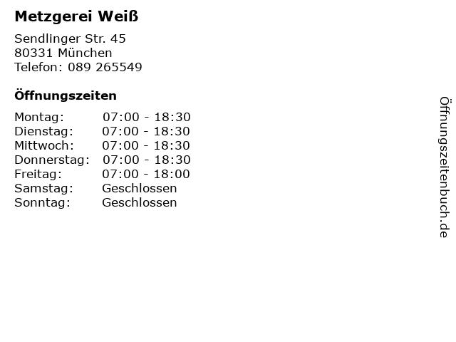 Metzgerei Weiß in München: Adresse und Öffnungszeiten