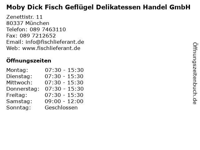 Moby Dick Fisch Geflügel Delikatessen Handel GmbH in München: Adresse und Öffnungszeiten