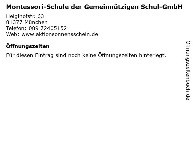 Montessori-Schule der Gemeinnützigen Schul-GmbH in München: Adresse und Öffnungszeiten