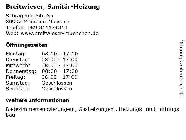 ᐅ öffnungszeiten Breitwieser Sanitär Heizung Schragenhofstr
