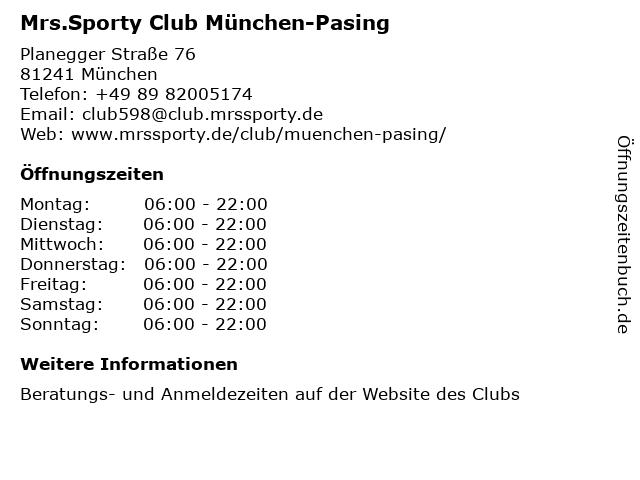 Mrs.Sporty Club München-Pasing in München: Adresse und Öffnungszeiten