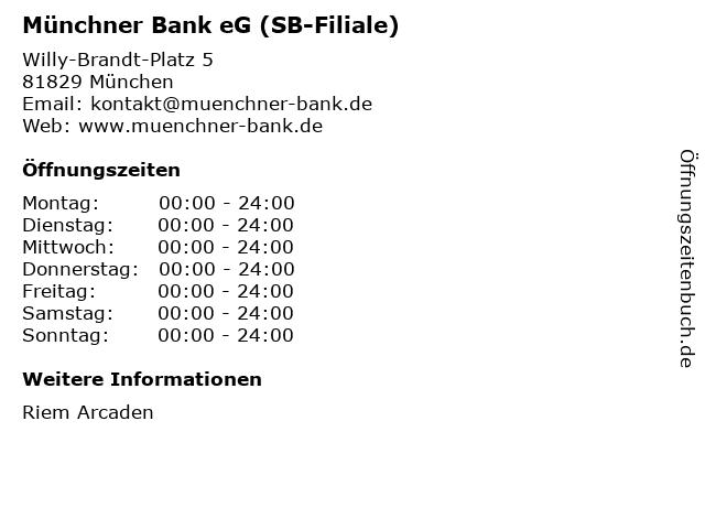Münchner Bank eG (SB-Filiale) in München: Adresse und Öffnungszeiten