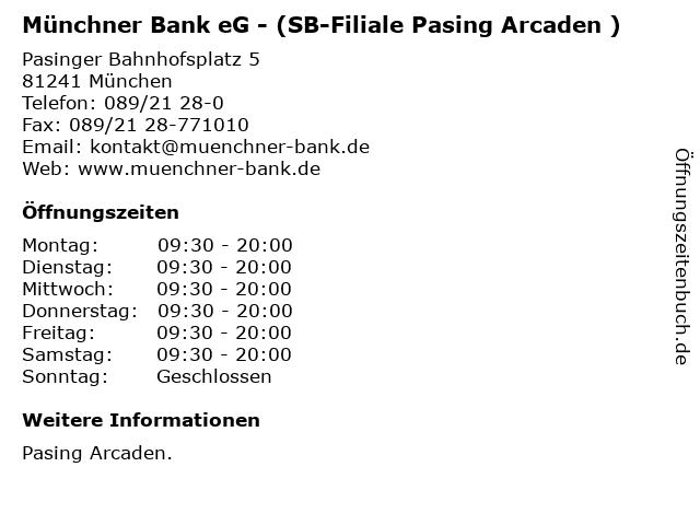 Münchner Bank eG - (SB-Filiale Pasing Arcaden ) in München: Adresse und Öffnungszeiten
