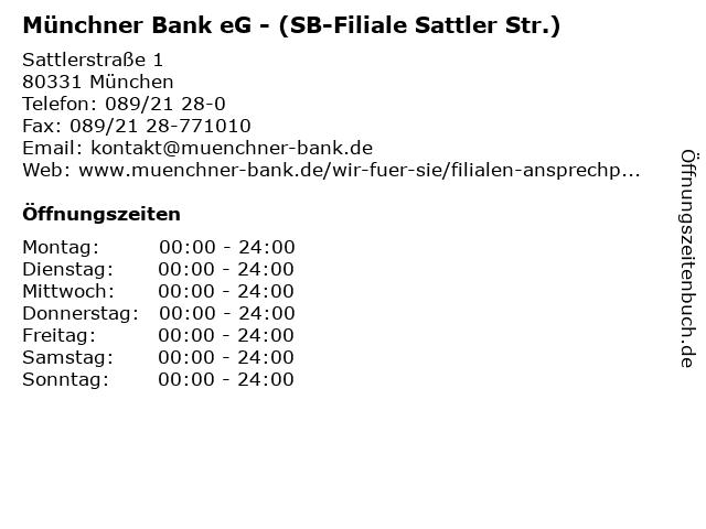 Münchner Bank eG - (SB-Filiale Sattler Str.) in München: Adresse und Öffnungszeiten