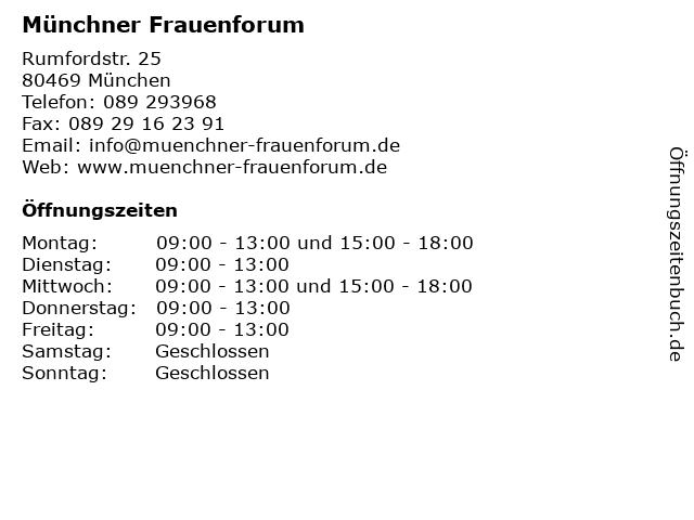 Münchner Frauenforum in München: Adresse und Öffnungszeiten