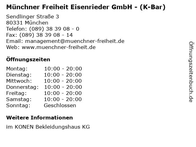 Münchner Freiheit Eisenrieder GmbH - (K-Bar) in München: Adresse und Öffnungszeiten