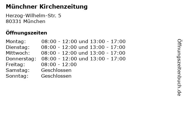 Münchner Kirchenzeitung in München: Adresse und Öffnungszeiten