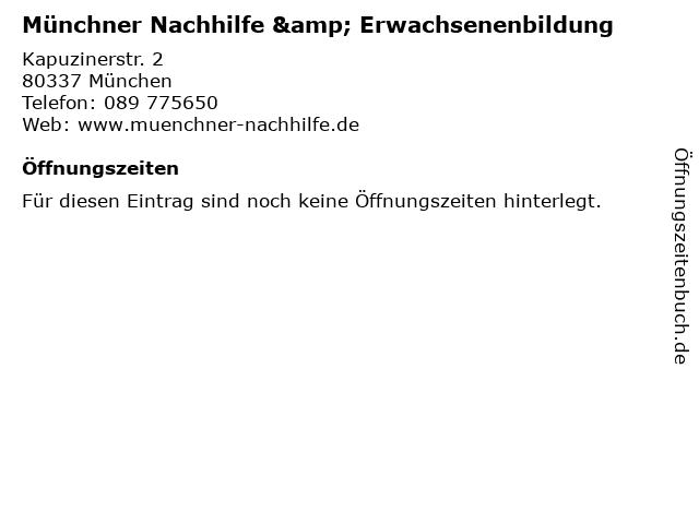 Münchner Nachhilfe & Erwachsenenbildung in München: Adresse und Öffnungszeiten