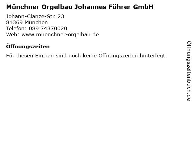Münchner Orgelbau Johannes Führer GmbH in München: Adresse und Öffnungszeiten