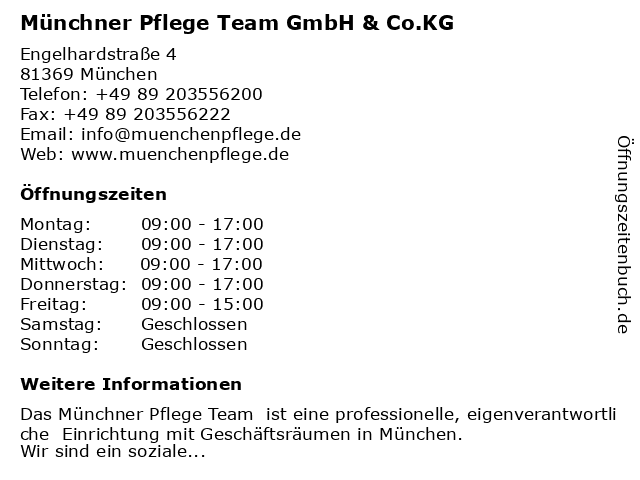 Münchner Pflege Team GmbH & Co.KG in München: Adresse und Öffnungszeiten