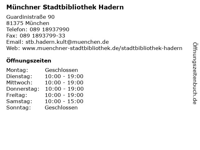 Münchner Stadtbibliothek Hadern in München: Adresse und Öffnungszeiten