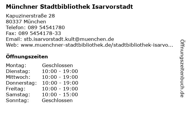 Münchner Stadtbibliothek Isarvorstadt in München: Adresse und Öffnungszeiten