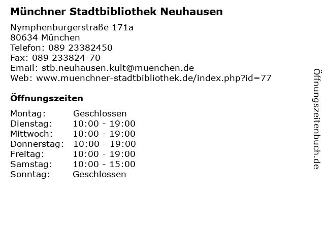 Münchner Stadtbibliothek Neuhausen in München: Adresse und Öffnungszeiten