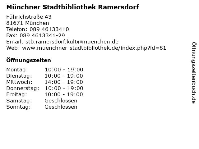 Münchner Stadtbibliothek Ramersdorf in München: Adresse und Öffnungszeiten