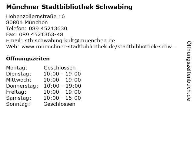 Münchner Stadtbibliothek Schwabing in München: Adresse und Öffnungszeiten