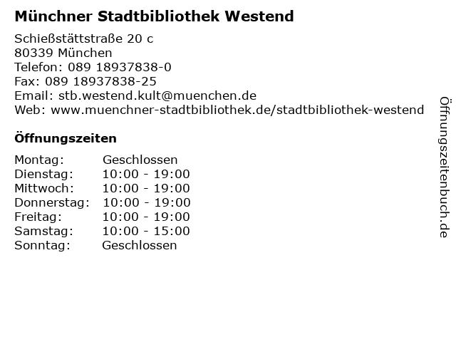 Münchner Stadtbibliothek Westend in München: Adresse und Öffnungszeiten