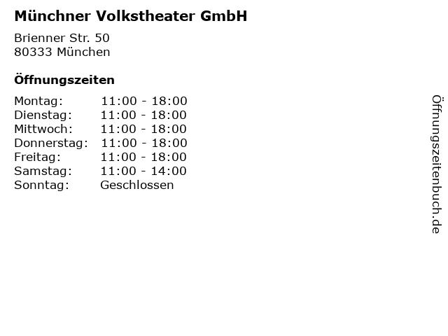 Münchner Volkstheater GmbH in München: Adresse und Öffnungszeiten