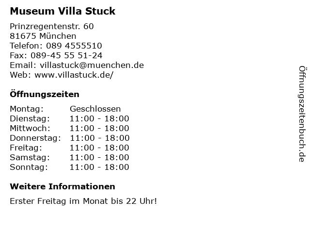 Museum Villa Stuck in München: Adresse und Öffnungszeiten