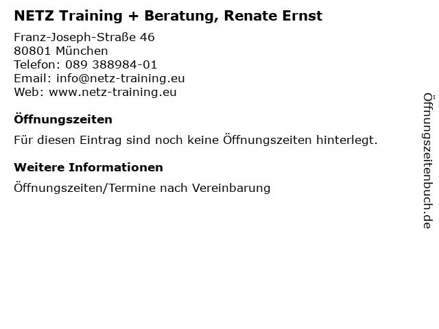 NETZ Training + Beratung, Renate Ernst in München: Adresse und Öffnungszeiten