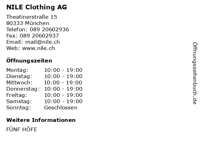 NILE Clothing AG in München: Adresse und Öffnungszeiten