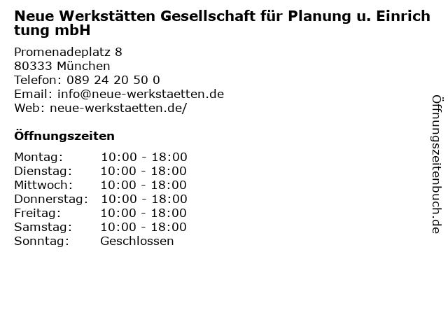 Neue Werkstätten Gesellschaft für Planung u. Einrichtung mbH in München: Adresse und Öffnungszeiten