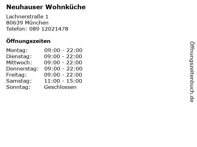 ᐅ Offnungszeiten Neuhauser Wohnkuche Lachnerstrasse 1 In Munchen
